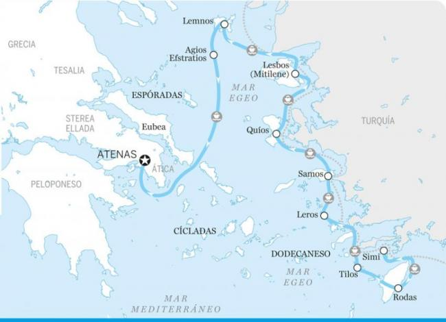Itinerario para descubrir las islas orientales, Islas Griegas