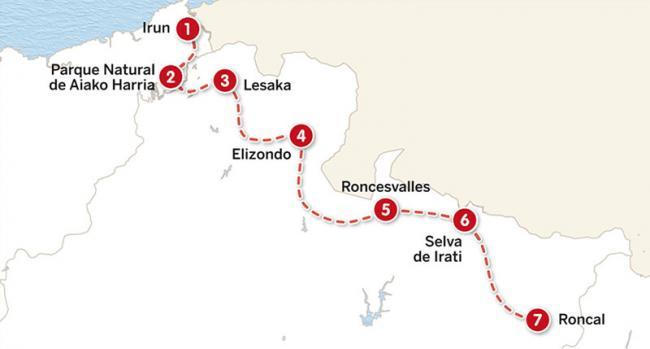 Mapa del itinerario de 10 días por el Pirineo vasco-navarro
