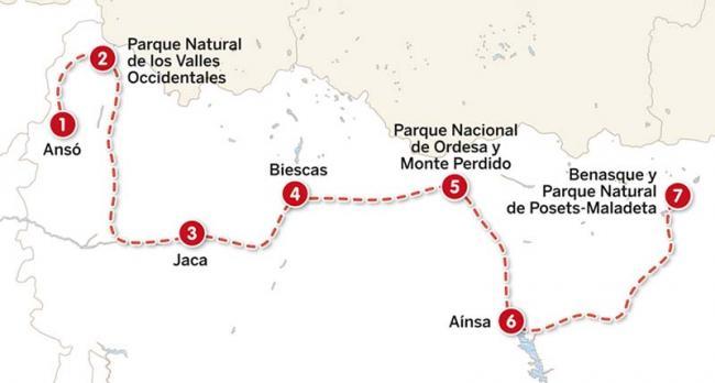 Mapa del itinerario de 20 días por el Pirineo aragonés
