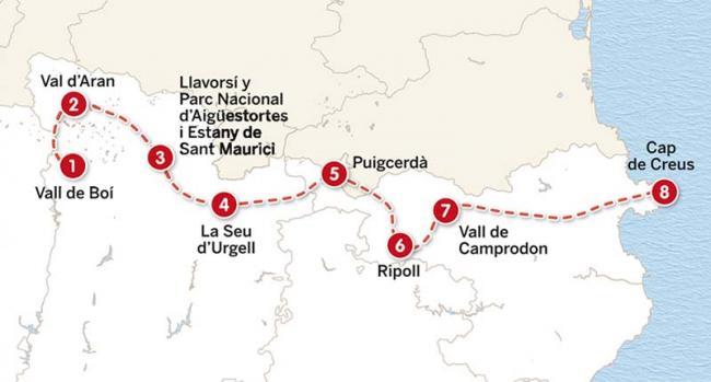 Mapa del itinerario de 2 semanas por todo el Pirineo catalán