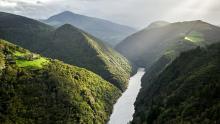 El Embalse de Doiras en Illano, Parque Histórico del Navia, Asturias, España