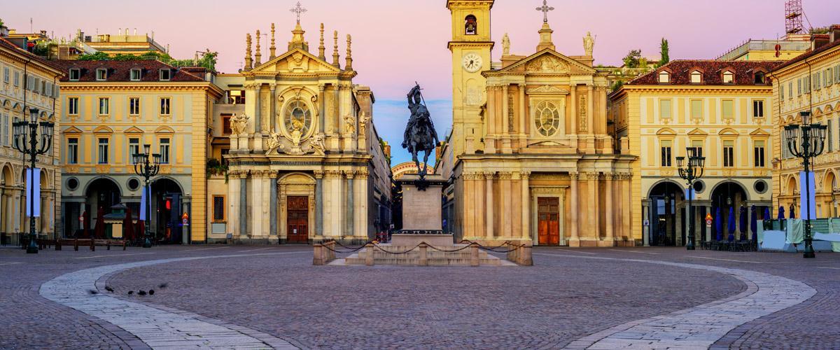 Piazza San Carlo de Turín, Piamonte, Italia